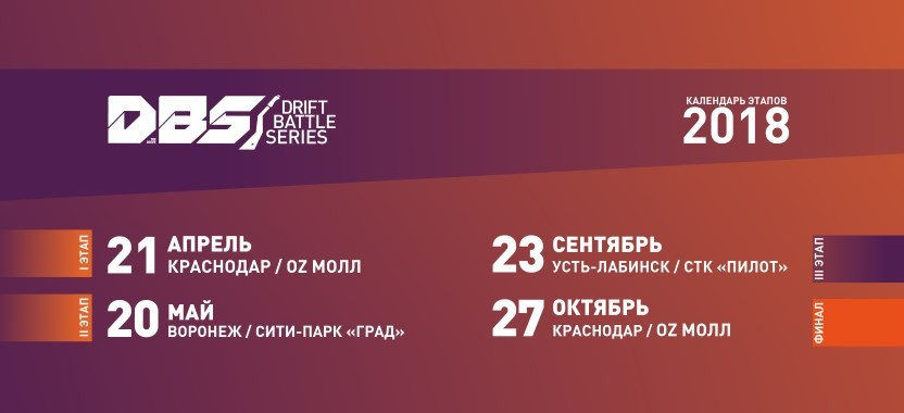 Календарь этапов Drift Battle Series. Сезон 2018